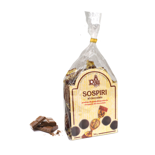 Picture of CHOCOLATE SOSPIRI- TRADITIONAL SARDINIAN SWEETS WITH ALMOND/CHOCOLATE PASTE AND CHOCOLATE GLAZE 300gr bag- RAU SARDO&DOLCE