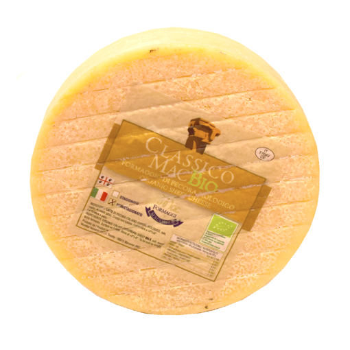 Picture of PECORINO RE PASTORE (VEGAN / CAGLIOVEGETALE) 1/8 shape of gr. 600 ca - semi-seasoned sheep's milk cheese with white and compact paste