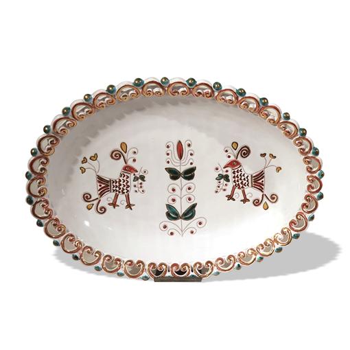 Image sur Vassoio in ceramica intarsiato a mano con rifiniture in oro zecchino