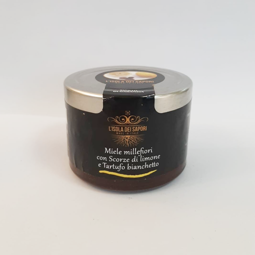 Picture of MULTI-FLOWER HONEY WITH LEMON PEEL AND BIANCHETTO TRUFFLE gr. 100 - vase - L'ISOLA DEI SAPORI